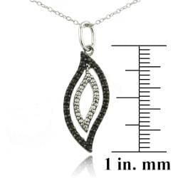 DB Designs Sterling Silver Black Diamond Accent Geometric Flame Necklace - Thumbnail 2