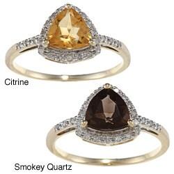 Viducci 10k Gold Gemstone and 1/8ct TDW Diamond Ring (G-H, I1-I2)
