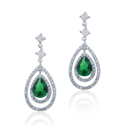 Icz Stonez Silver Created Gemstone and Cubic Zirconia Teardrop Earrings