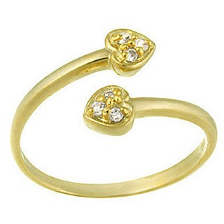Icz Stonez Sterling Silver Cubic Zirconia Crossover Heart Toe Ring (Option: 18k Gold Over Silver)