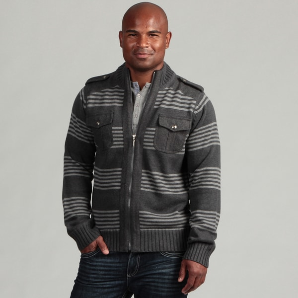 XRay Jeans Men's Dark Grey Striped Wool Blend Sweater
