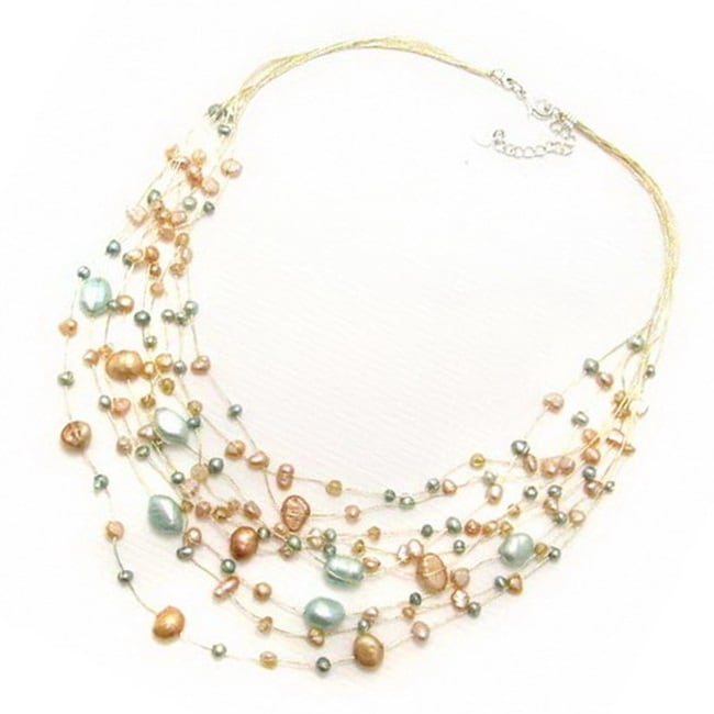 Layered Harmony Freshwater Dyed Mix Pearls Necklace (Thailand)