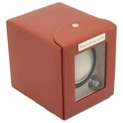 Steinhausen 4-mode Single Orange Polyurethane Leather Watch Winder - Thumbnail 1