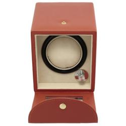 Steinhausen 4-mode Single Orange Polyurethane Leather Watch Winder - Thumbnail 2