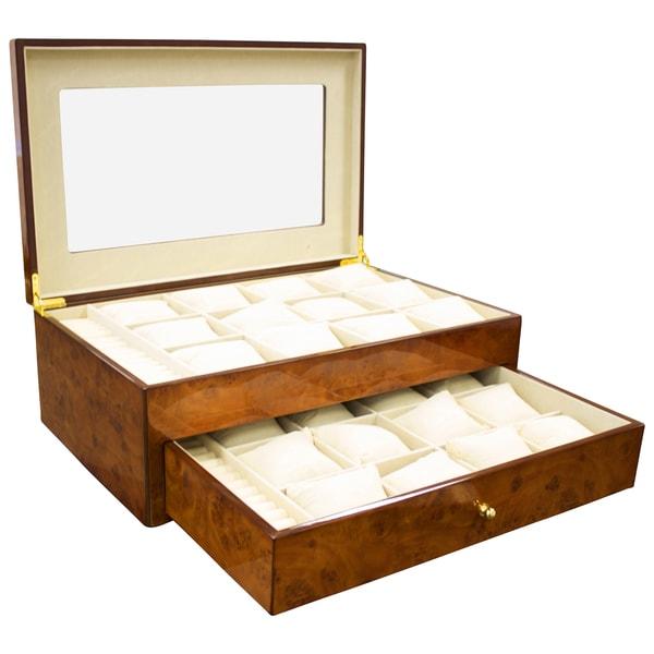 Versil Steinhausen Golden Burlwood Wood Finish 24 Unit Watch Case