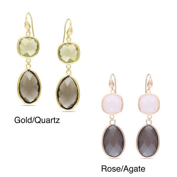 Miadora Goldtone 73ct TGW Gemstone Dangle Earrings