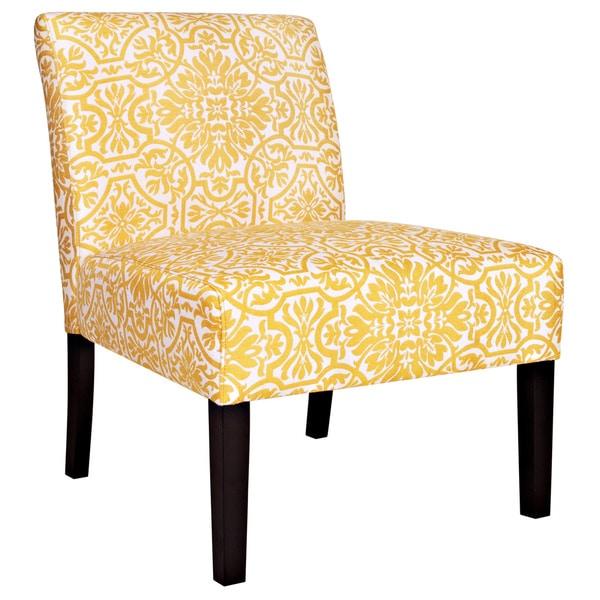 Handy Living Bradstreet Damask Yellow/ Cream Armless Chair