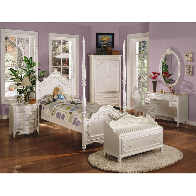 ACME Pearl Collection Twin Headboard Set (Kids Beds), White