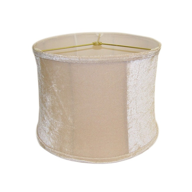 Beige Velvet Round Ribbed Lamp Shade