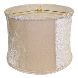 Beige Velvet Round Ribbed Lamp Shade - Thumbnail 0