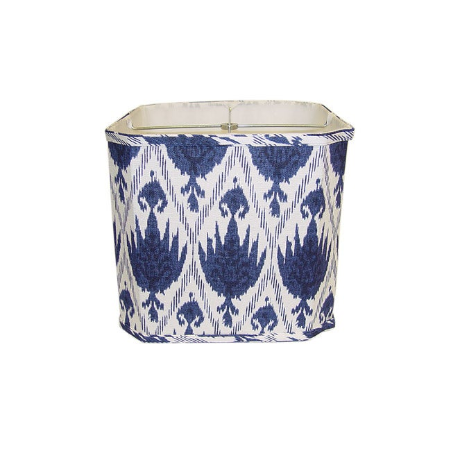 Blue/ White Linen Square Lamp Shade