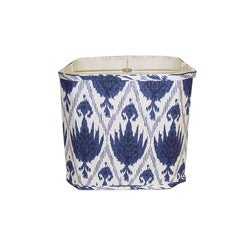 Blue/ White Linen Square Lamp Shade - Thumbnail 0