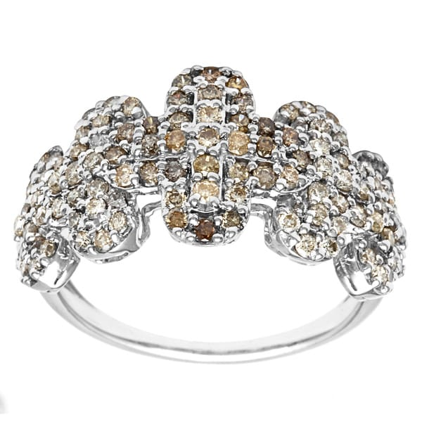 10k White Gold 1 1/6ct TDW Brown Diamond Fashion Ring