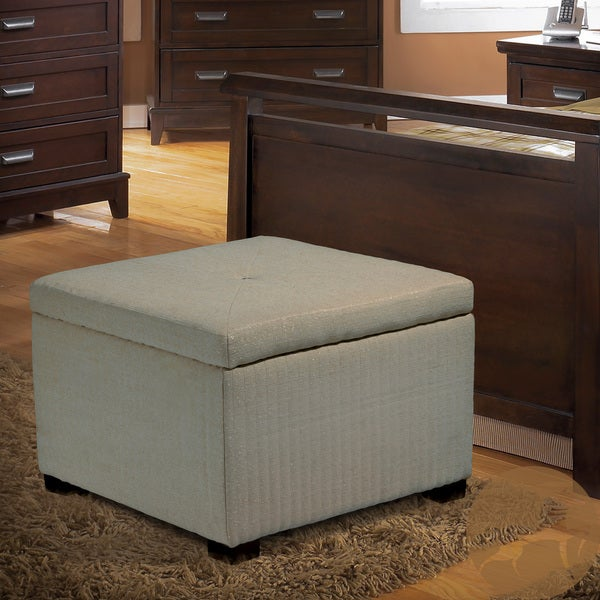 Angelique Light Tan Shoe Storage Ottoman by Christopher Knight Home