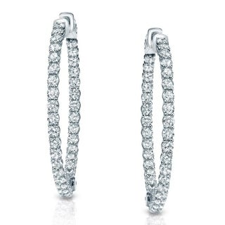 14k Gold 3 1/2ct TDW Trellis Diamond Hoop Earrings