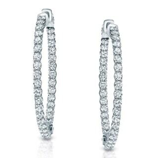 14k Gold 3 1/2ct TDW Inside-Out Trellis Diamond Hoop Earrings