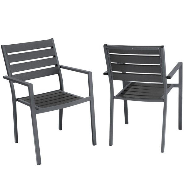 Lanai Grey Poly Wood Outdoor Chairs (Set of 2) by Christopher Knight Home
