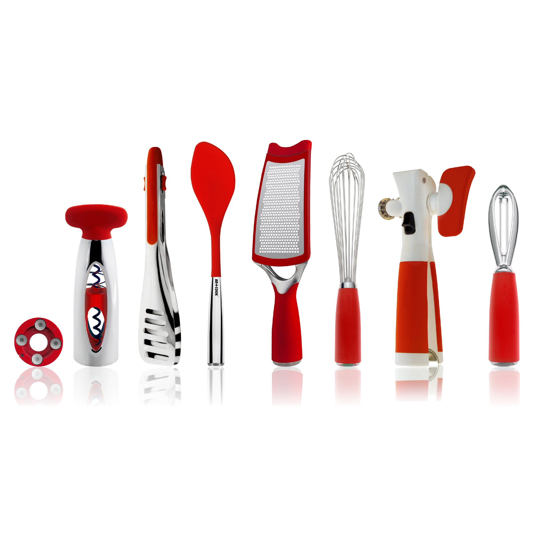 Art and cook red 8 piece kitchen tool set free shipping for Kitchen set red
