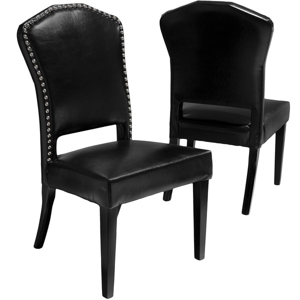 Robinson Black Leather Dining Chairs (Set of 2) by Christopher Knight Home