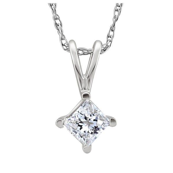 Montebello 14k White Gold 1/2ct TDW Princess-cut Diamond Solitaire Necklace (J-K, I2-I3)