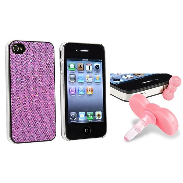 INSTEN Light Purple Bling Phone Case Cover/ Pink Dust Cap for Apple iPhone 4/ 4S