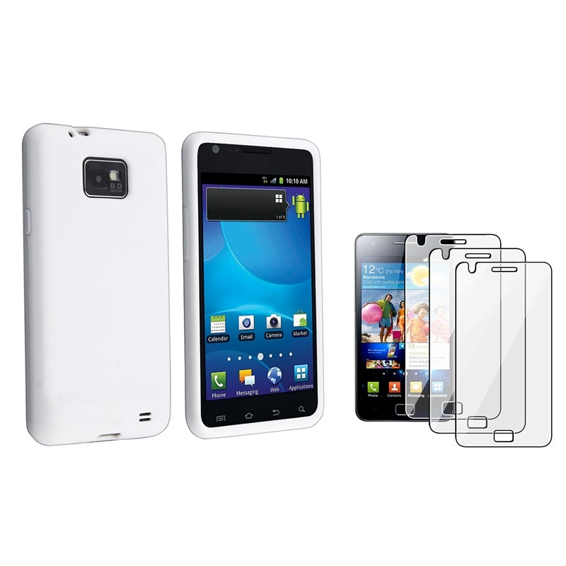White Silicone Case/ Screen Protectors for Samsung Galaxy S II i9100