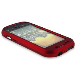 Red Rubber Coated Case/ Protector/ Charger for T-Mobile HTC MyTouch 4G - Thumbnail 2
