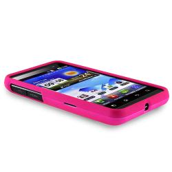 Pink Rubber Coated Case/ LCD Protector/ Charger for LG P920 Thrill 4G - Thumbnail 2