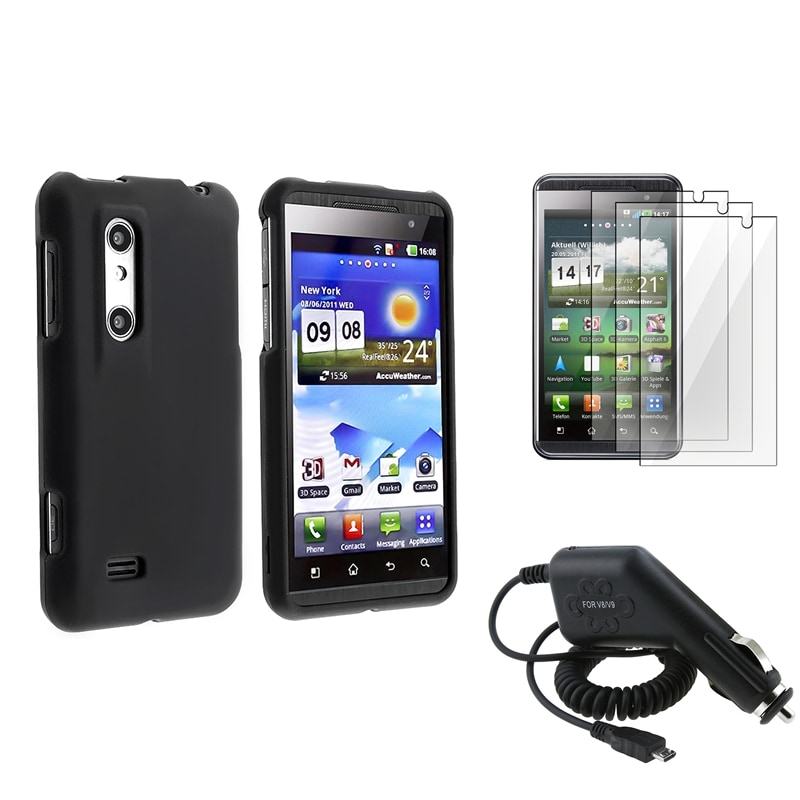 Black Rubber Coated Case/ LCD Protector/ Charger for LG P920 Thrill 4G