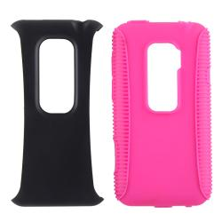INSTEN Pink/ Black Hybrid Case Cover/ LCD Protectors/ Car Charger for HTC EVO 3D - Thumbnail 1