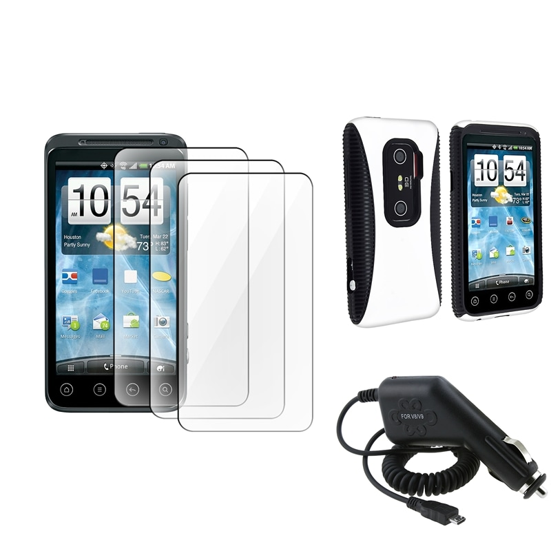 Black/ White Hybrid Case/ LCD Protectors/ Car Charger for HTC EVO 3D
