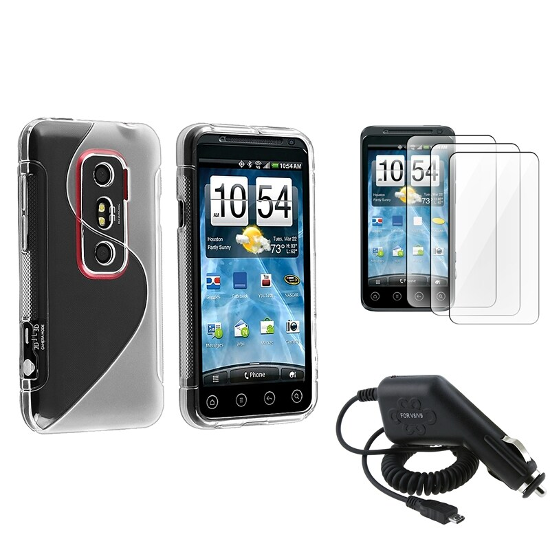 Frost White S TPU Case/ LCD Protectors/ Car Charger for HTC EVO 3D