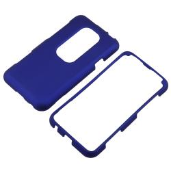 Dark Blue Rubber Coated Case/ LCD Protectors/ Charger for HTC EVO 3D - Thumbnail 1