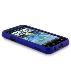 Dark Blue Rubber Coated Case/ LCD Protectors/ Charger for HTC EVO 3D - Thumbnail 2