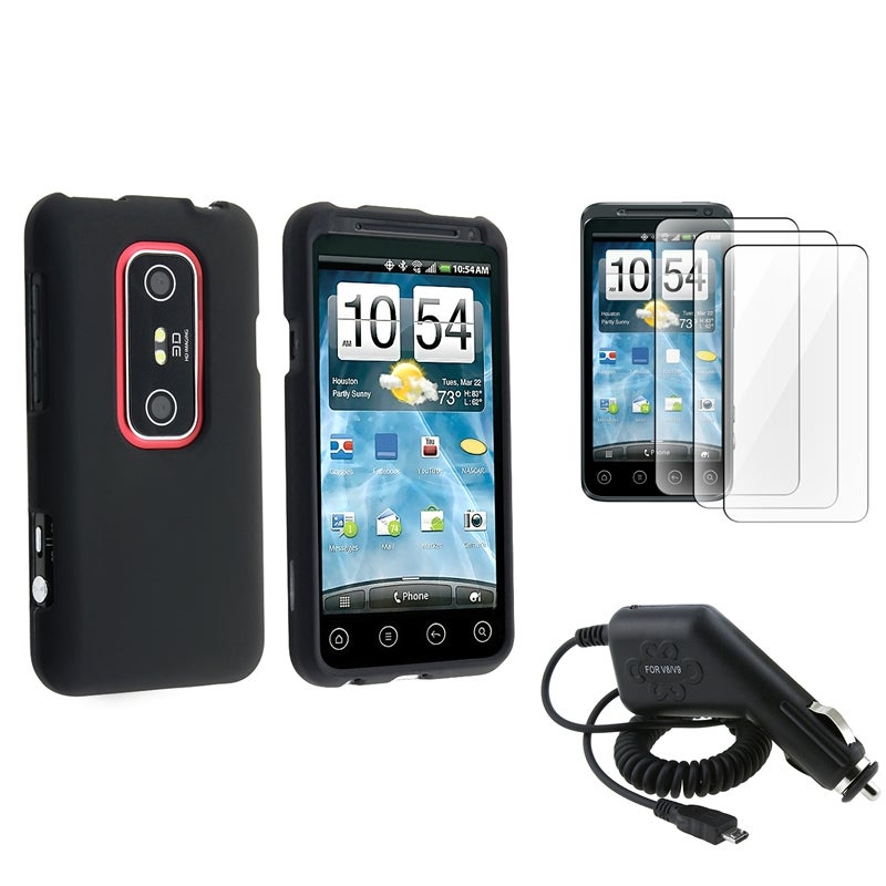 Black Rubber Coated Case/ LCD Protectors/ Car Charger for HTC EVO 3D