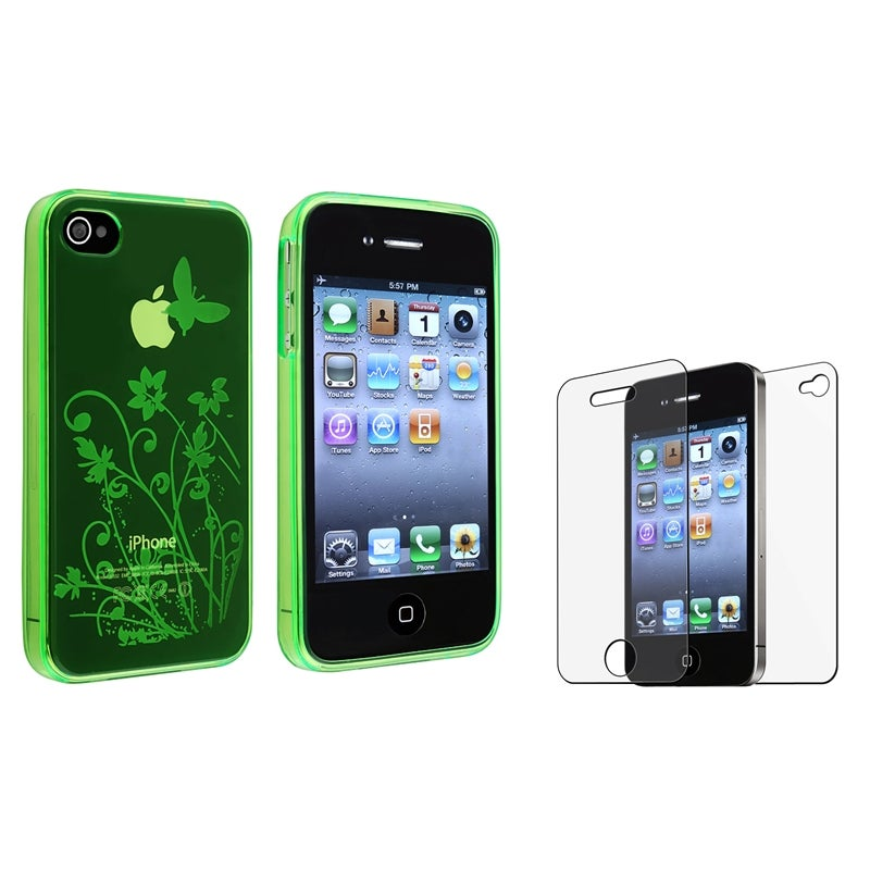 Green Flower TPU Case/ Anti-glare LCD Protector for Apple iPhone 4/ 4S