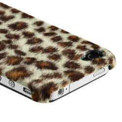 Brown Leopard Case/ Yellow Headset Dust Cap for Apple iPhone 4/ 4S