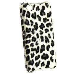Grey Leopard Case/ Yellow Headset Dust Cap for Apple iPhone 4/ 4S - Thumbnail 1