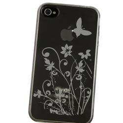 TPU Smoke Flower Case/ Yellow Headset Dust Cap for Apple iPhone 4/ 4S