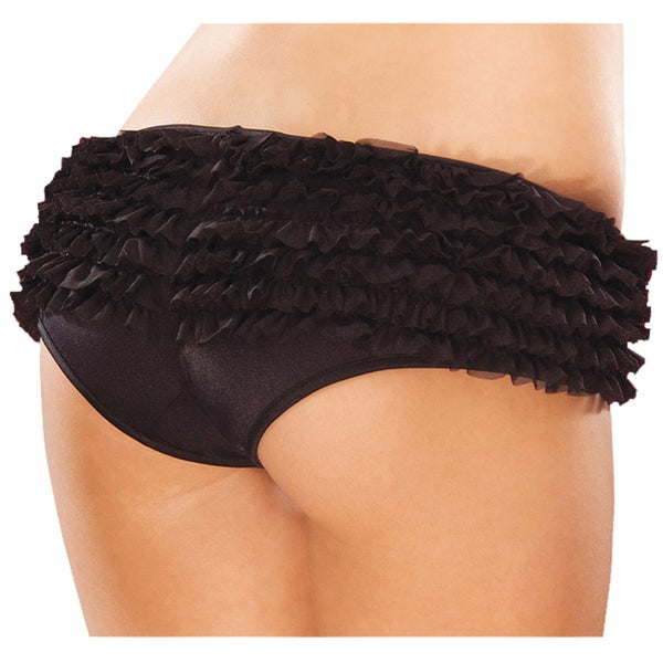 Coquette Black Ruffle Mesh Crotchless Panties