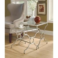 Clay Alder Home Pacific Satin Silver 2-piece Nesting Table Set with Tempered Glass
