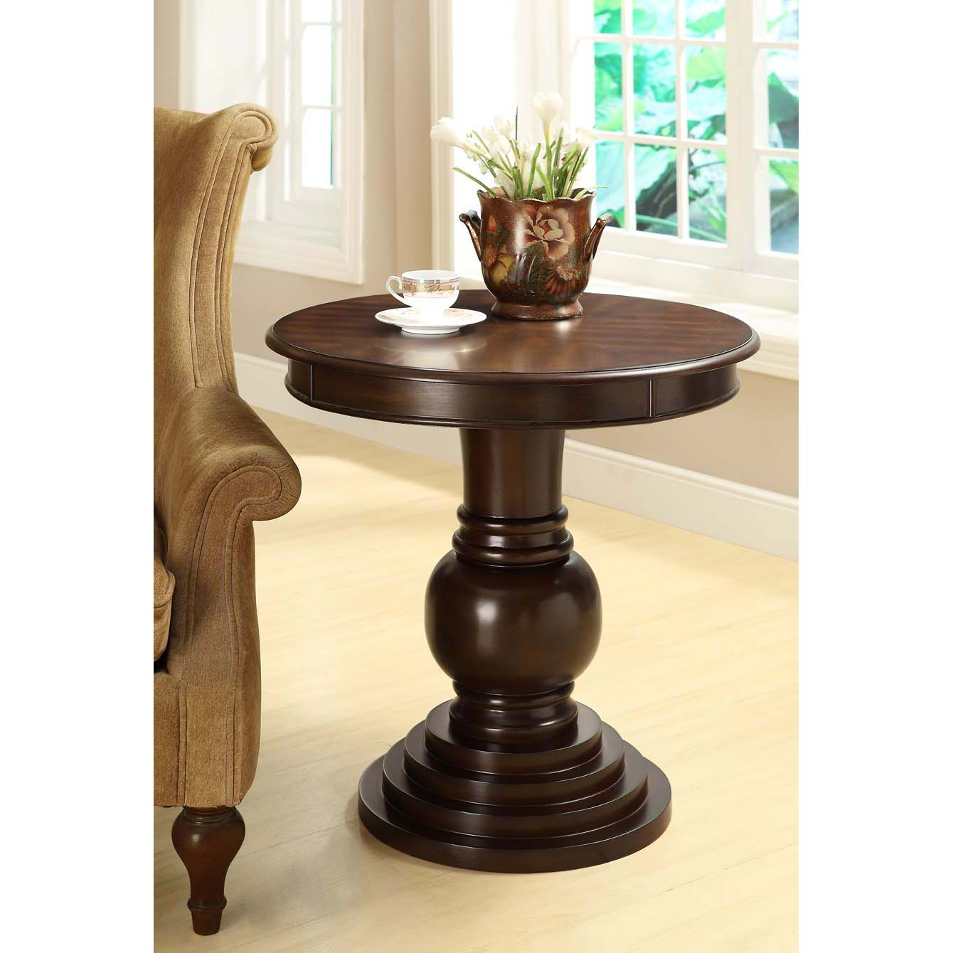 Dark Cherry Birch Veneer Top 26-inch Accent Table