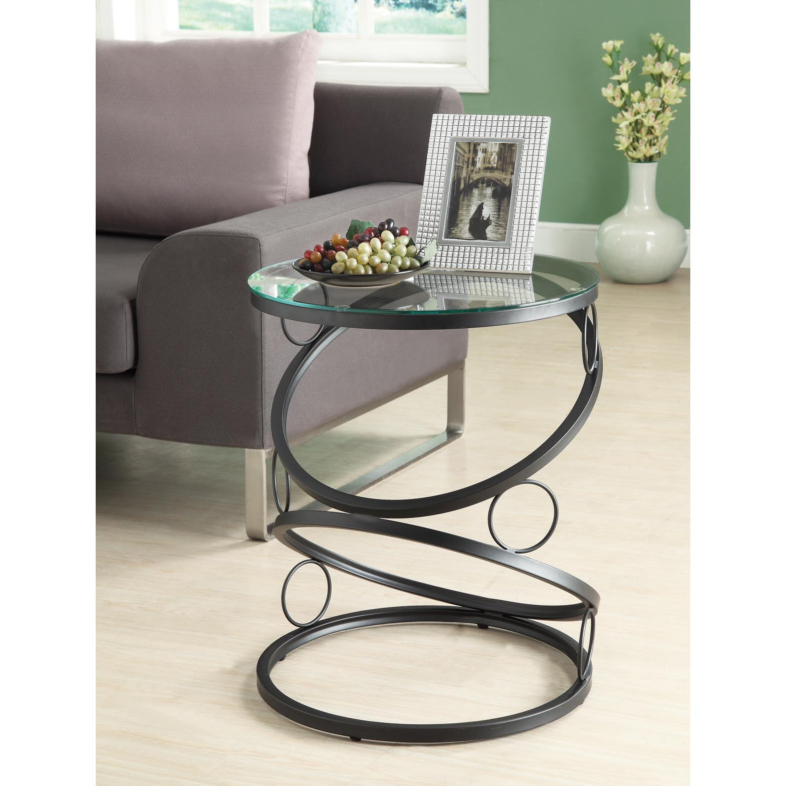 Matte Black Metal Accent Table with Tempered Glass