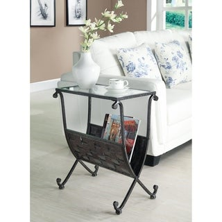 Black/ Taupe Metal Magazine Table with Tempered Glass