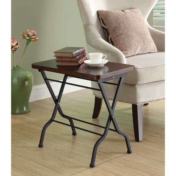 Cherry/ Charcoal Black Metal Folding Accent Table