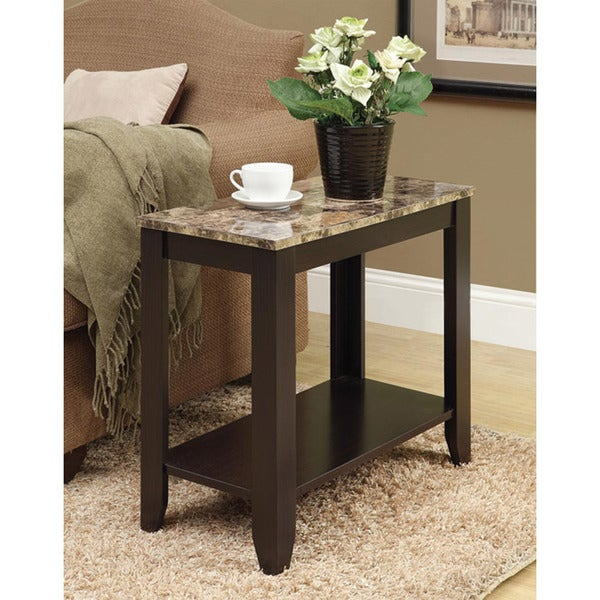 Marble Bistro Accent Table: Cappuccino/ Marble Top Accent Side Table