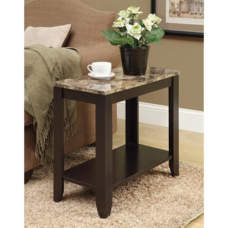 Cappuccino/ Marble Top Accent Side Table