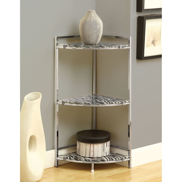 Shop Chrome Metal 30-inch Accent Table With Zebra Tempered