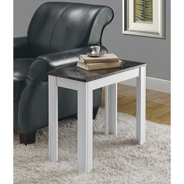 White/ Grey Marble Accent Side Table