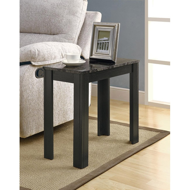Black Grey Marble Accent Side Table Free Shipping Today